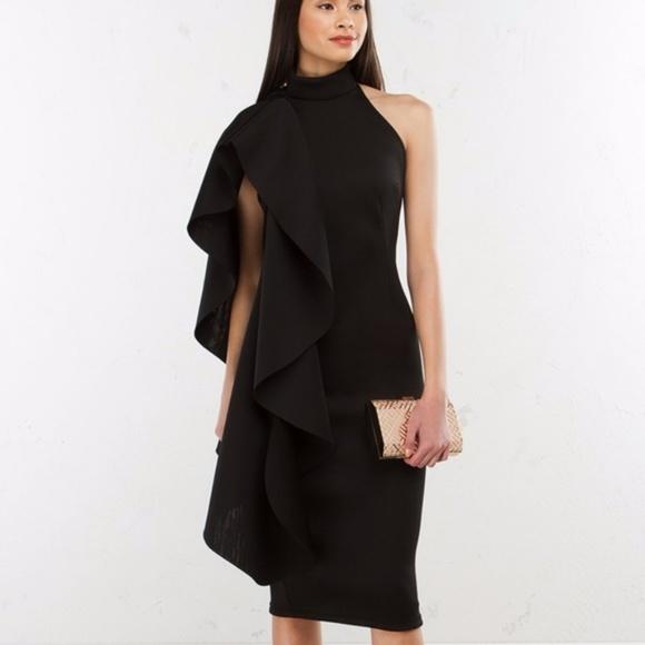 Akira Dresses Dreamin Now Side Ruffle Dress In Black Poshmark